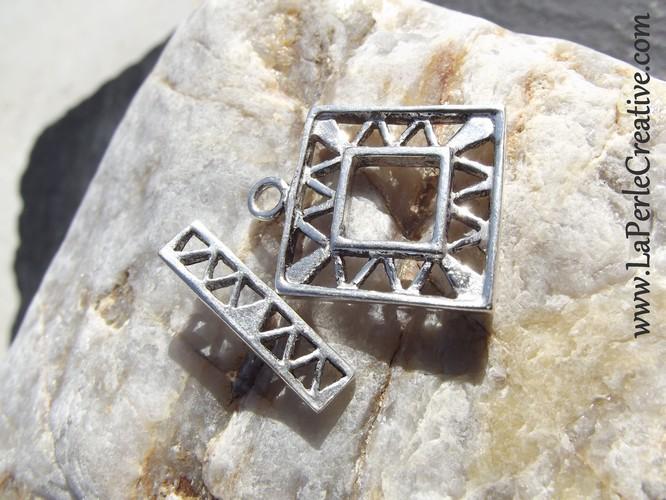 Fermoir Argent massif 925 brossé Tbar anneau baillonette fourniture création bijoux uniques la perle creative