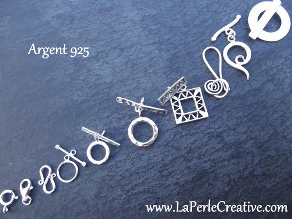 Fermoir Argent massif 925 brossé Tbar anneau baillonette création bijoux uniques et originaux